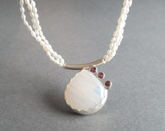 Stunning Triple Strand Hand-Knotted Freshwater Pearl Necklace with a White Iridescent Moonstone Pendant