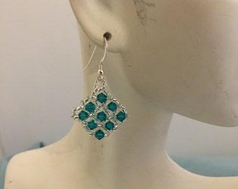 Swarovski Blue Zircon woven seed beaded Earrings