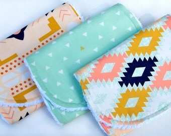 Baby Burp Cloths - Set of Three - Aztec Collection