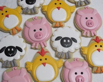 Farm Animals Sugar Cookies Set #1 - Barnyard or Petting Zoo Theme Party Favors, Chicken, Sheep, Pig