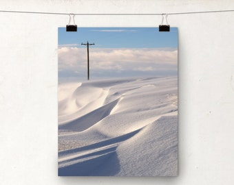 Snowy Landscape, Winter Photo, Snow Drifts, Canadian Photography