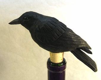 Bird Bottle Stopper Crow or Raven Art Sculpture Wood Carving Barware