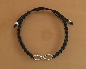 Handcrafted Black Macrame Waxed Twisted  Cotton Cord INFINITY Eternity  Bracelet in Polished 925 Sterling