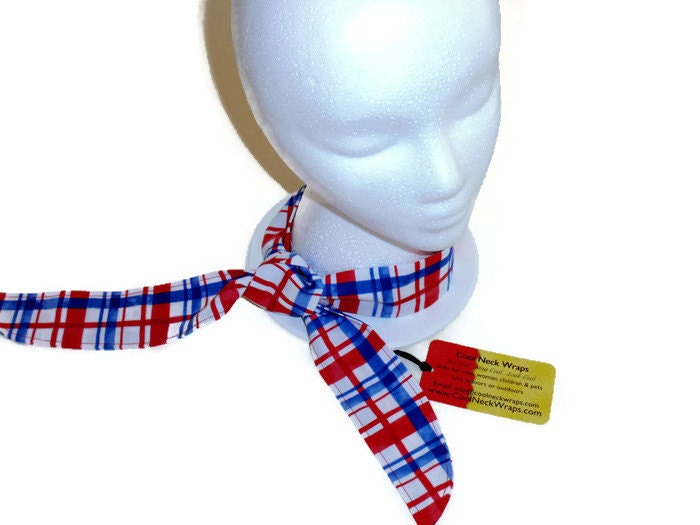 Cooling Neck Scarf : Cooling neck wrap scarf gel cooler red white and blue