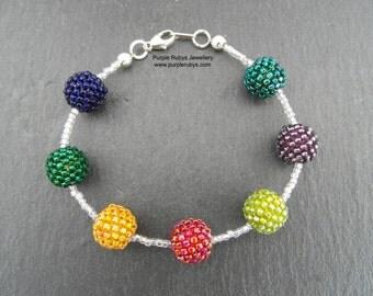 Rainbow Beaded Bead Bracelet