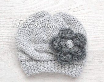 Cable Baby Girl Hat, Knit Baby Girl Hat, Knit Baby Hats, Newborn Baby Girl Hat, Gray Baby Hat, Baby Outfit, Hospital Baby Hat, Photo Prop