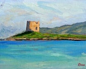 original seascape oil small painting, Italian coast, Sessa