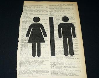 Bathroom Stick Figure Dictionary Art Print Home Decor  Book Page Art Man Woman His Hers Sign Powder Room Guest Bath
