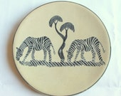 Vintage Decorative Stone  Plate with Two Zebras in African landscape