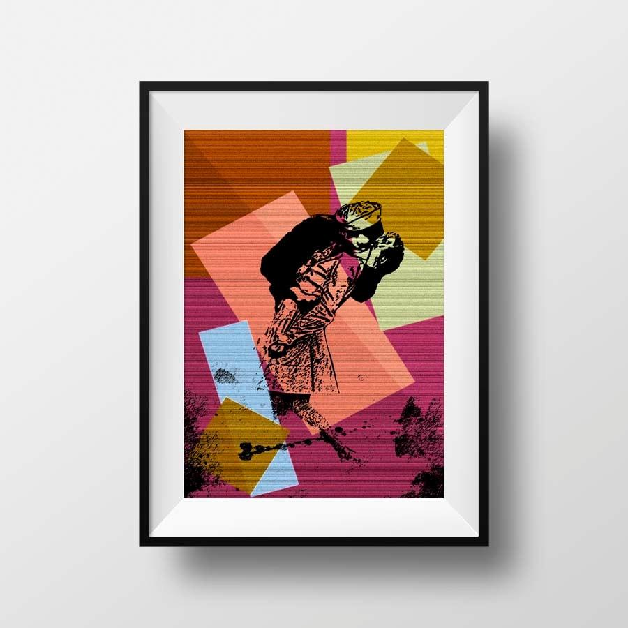 Wall Decor Pop Art : Kissing sailor v j day print pop art wall decor
