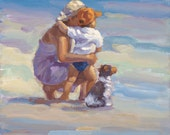 Mother and son on the beach, canvas giclee, dog, beach scene, wall decor, art decor, beach decor, black and white dog,  lucelle raadart