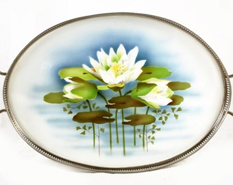 Antique Dutch serving tray with waterlily decoration