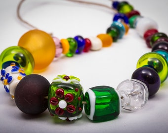 Lampwork Bead Set, Orphan Glass Beads, Hollow Lampwork