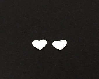TINY Sterling Silver Heart Studs. Sterling Silver Ear Studs. Gift for Her. Love Jewelry. Anniversary. Birthday Gift. Wedding. Heart Earrings
