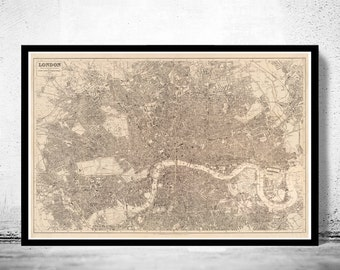 Old Map of London , England United Kingdom 1894