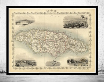 Vintage Old Map of Jamaica, 1851, Antique map of Jamaica