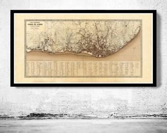 Old Map of Lisbon 1871 Lisboa Portugal mapa antigo