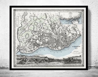 Old Map of Lisbon Lisboa Portugal mapa antigo 1844