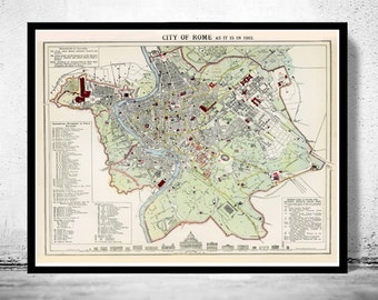 Old Map City Plan of Rome Roma, Italia 1883 Antique Vintage Italy