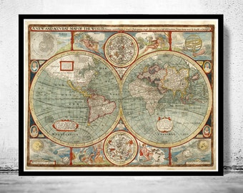Old Map of The World  1627 Antique map
