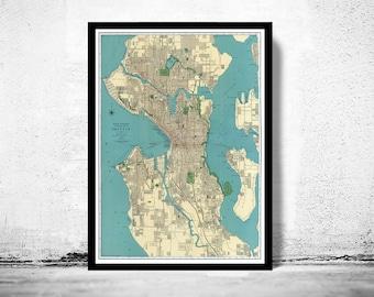 Old Map of Seattle Washington 1924