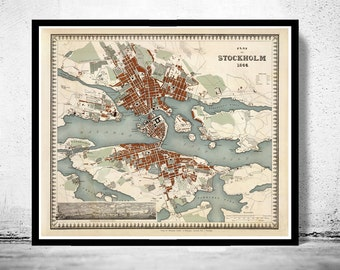 Beautiful Old Map of Stockholm, Sweden 1844