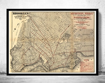 Old Map of Brooklyn,  United States 1874