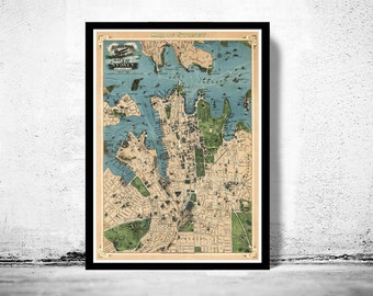 Old Map of Sydney, Australia 1922 Vintage map