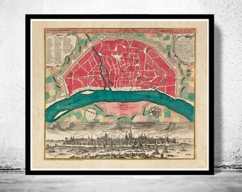 Old Map of Koln Cologne, Germany 1740