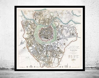 Old Map of Vienna Wien with gravures, Austria 1833 Vintage