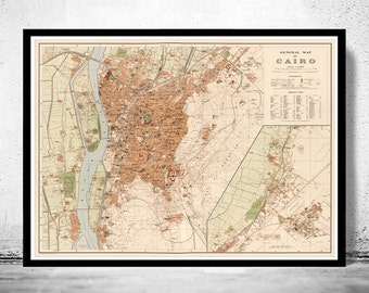 Old Map of Cairo Egypt 1920