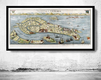 Vintage Old Map of Venice Venetia Venezia , Italy 1720