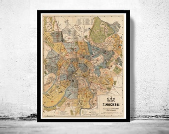 Old Map of Moscow  Russia 1914