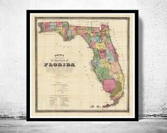 Vintage Map of Florida 1870