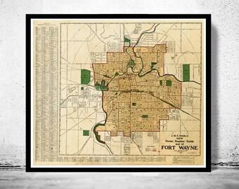Old Map Fort Wayne Indiana 1919