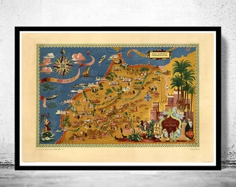 Old Map of  Morocco Le Maroc  Vintage Map