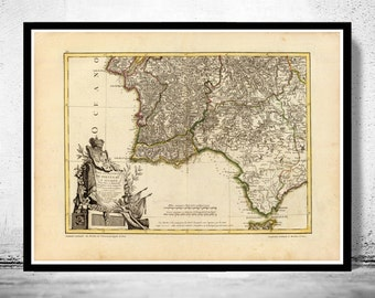 Old Map of Algarve and Portugal ,1780 Portuguese map