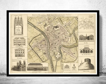 Old Map of York England 1750 United Kingdom
