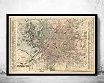 Old Map of Manchester UK 1880