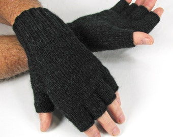 Men's Size L/XL, Black Anthracite Merino/Alpaca Wool, Plain, Half-fingered Gloves, Double Knit, Very Warm/Soft, Light Weight - READY to SHIP