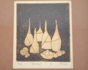 "1966 ""Bottles"" Single Edition Art Print - Signed ""Floyd"" - Matted and Framed"