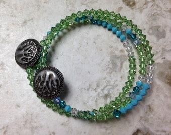 Sea Foam Green Memory Wire Bracelet