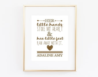 Personalised Baby Girl Printable Nursery Quote Wall Art Print