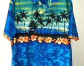 "HAWAII Made Men's Shirt Size XL All Cotton MADE in HAWAIi ""Winnie Fashion"" Hawaiian Tropical Palm Blue Green Black Orange Boat Beach Ex Cond"
