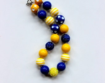 fall chunky bead necklace yellow royal blue chunky bubblegum bead necklace necklace girls necklace girl chunky bead necklace birthday