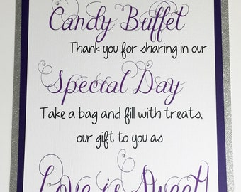 Candy Buffet Sign, Welcome Sign, Wedding Candy Buffet, Purple Sign
