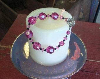 Vintage Upcycled Pink Crystal Bracelet