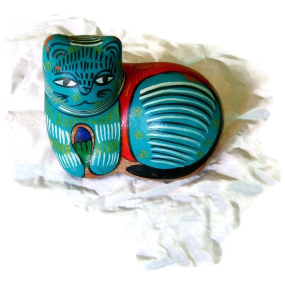 Southwestern Cat Resting, Red Clay Painted Turquoise, back tells Story Hispanic Life, Colorful Folk Art Piece, Cinco de Mayo Gift, turquoise