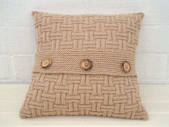 Throw Pillows Beige Couch : Beige knit pillow couch pillow beige knit cushion knit pillow