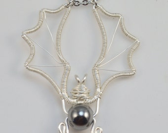 Silver Wire Bat Pendant